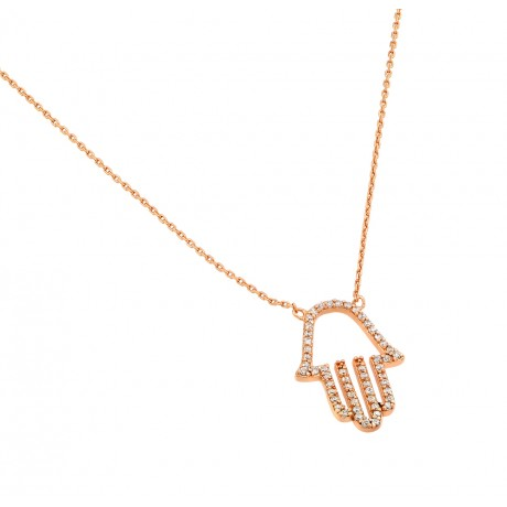 "Sterling Silver ""Hamsa"" Necklace Rose Gold Plated"